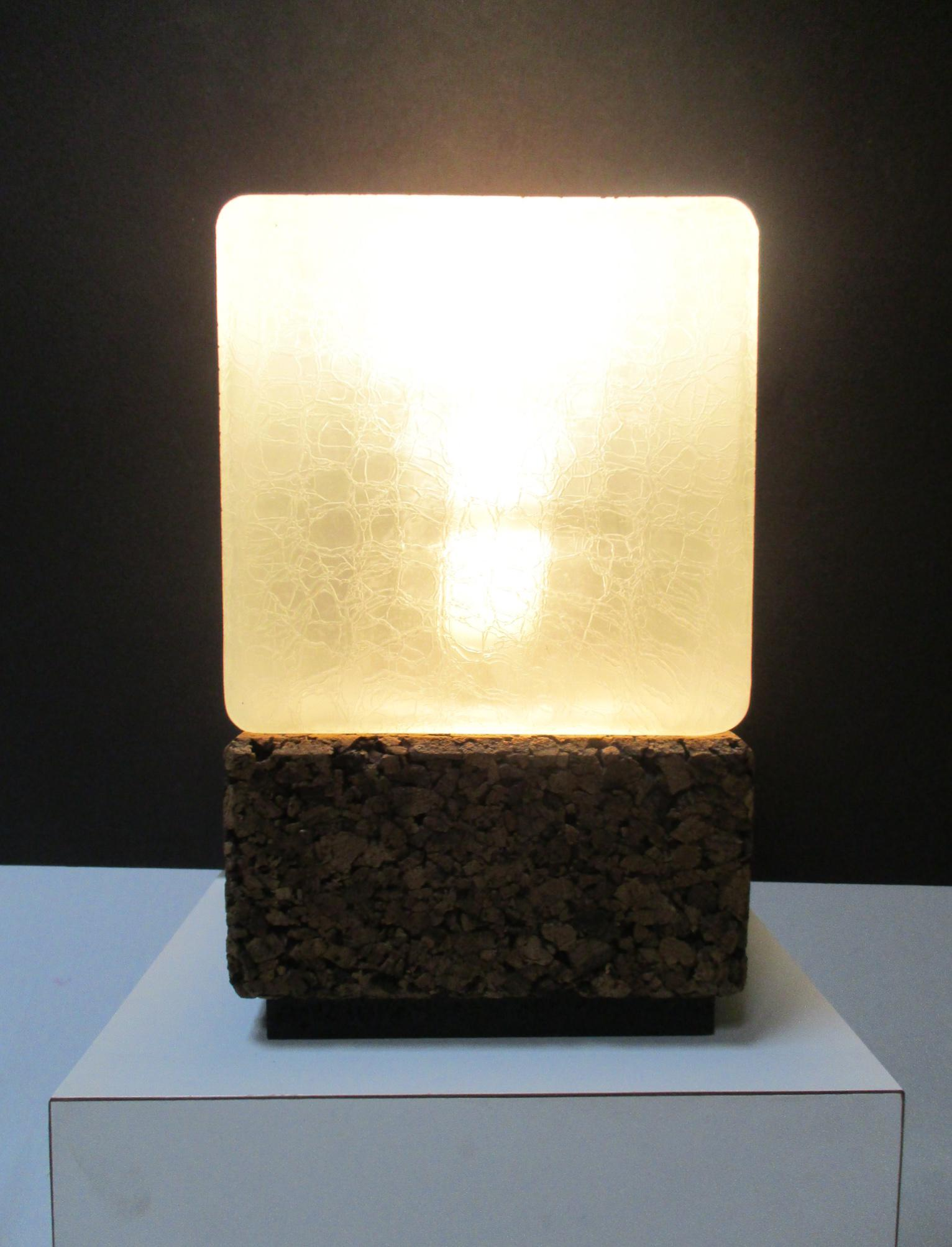 Nice Mid Century Modern Cork Cube Glass Modernist Table Lamp   Image 5 Of 10