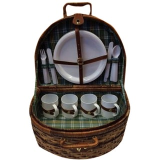 Green Plaid Picnic Basket