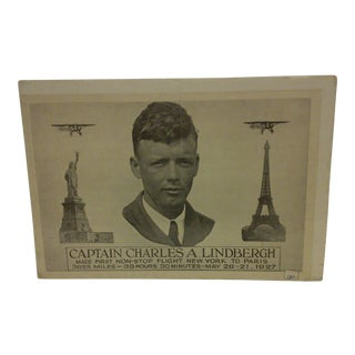 Vintage 1927 Print of Captain Charles Lindbergh's First Non-Stop Flight