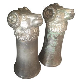 Silver Plated Pewter Ram Cups - a Pair