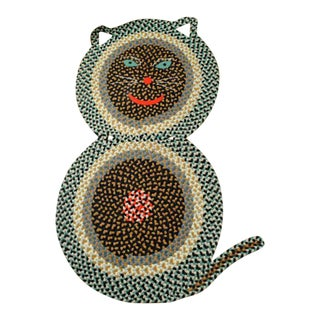 American Folk Art Braided Rug in the Form of a Cat of Large Size.