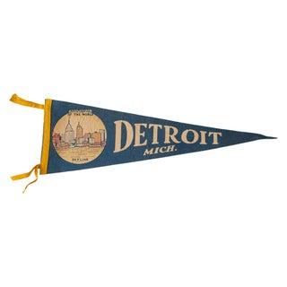 Vintage 1950s Detroit Michigan Felt Flag