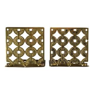 Brass Geometric Folding Bookends - A Pair