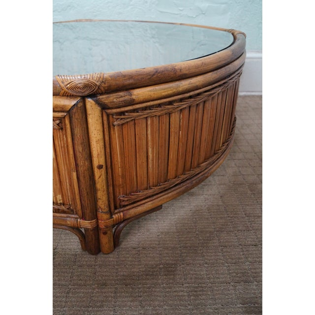 Vintage Bamboo Rattan Glass Top Coffee Table - Image 3 of 7