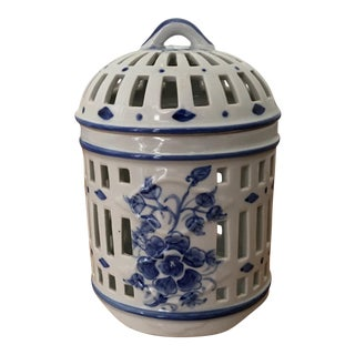 Blue and White Ceramic Birdcage