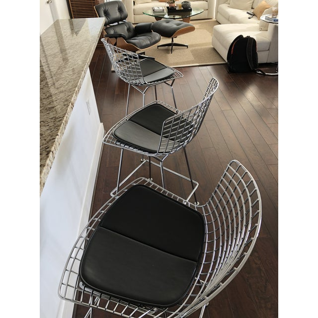 Bertoia Counter Stools With Seat Pads - Set of 3 - Image 6 of 11