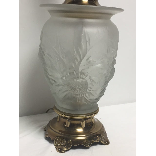 Rembrandt Frosted Glass Floral Table Lamp - Image 9 of 9