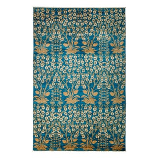 New Blue Hand-Knotted Rug - 5′10″ × 9′2″