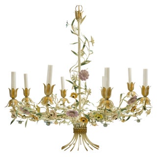 Eight Light Tole Chandelier, Made in Italy