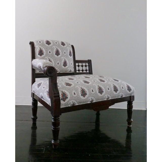 Vintage Eastlake Style Settee Upholstered in Tilton Fenwick Fabric - Image 2 of 8