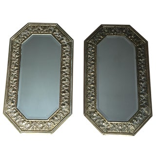 "Pair English Antique Brass Shell 18""x 30"" Mirrors"