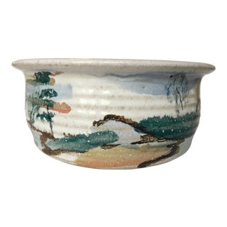 Glazed Landscape Pottery Bowl