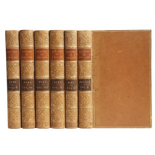 Antique British History Leather Books - Set of 6