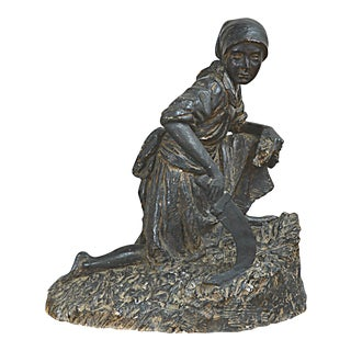 Plaster Sculpture of Girl in Wheat Field