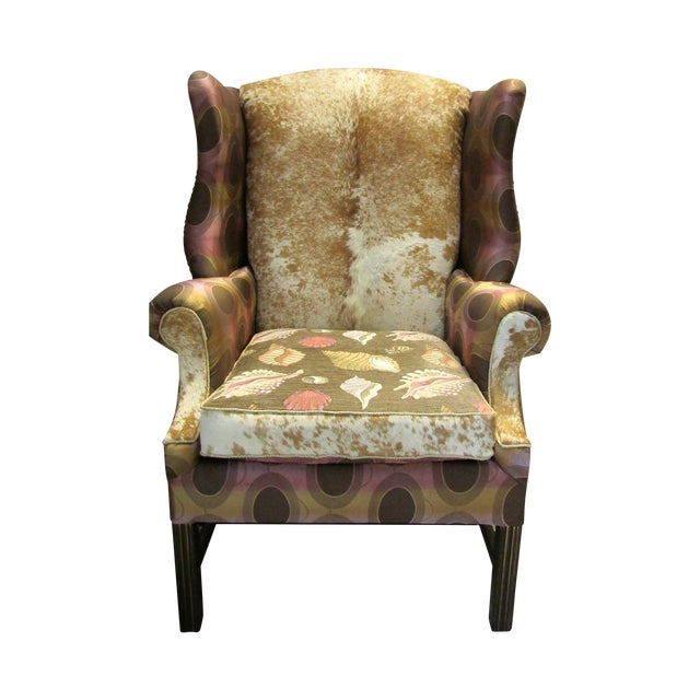 Image of Vintage Chippendale Wingback Chair W/ Cowhide
