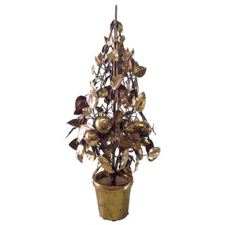 Large Brass Fruit Tree Lamp by Curtis Jere