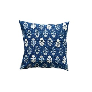 Indigo Floral Embroidered Pillow