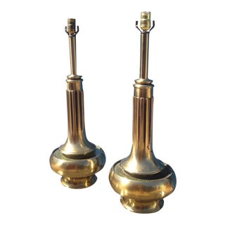 Mastercraft Piston-Form Brass Lamps - A Pair