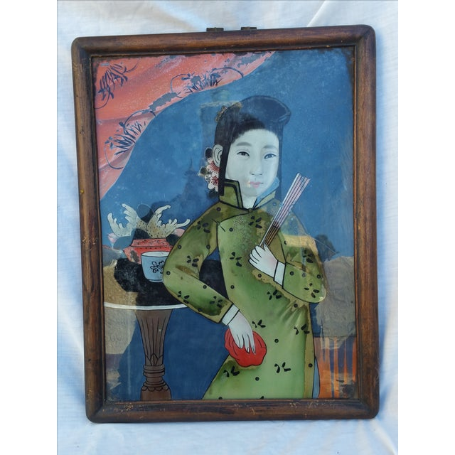 Image of 19th Century Chinese Reverse Painted Glass Picture