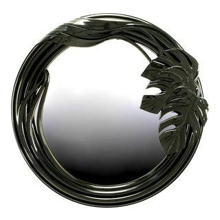 Black Lacquer Art Deco Revival Foliate Round Mirror