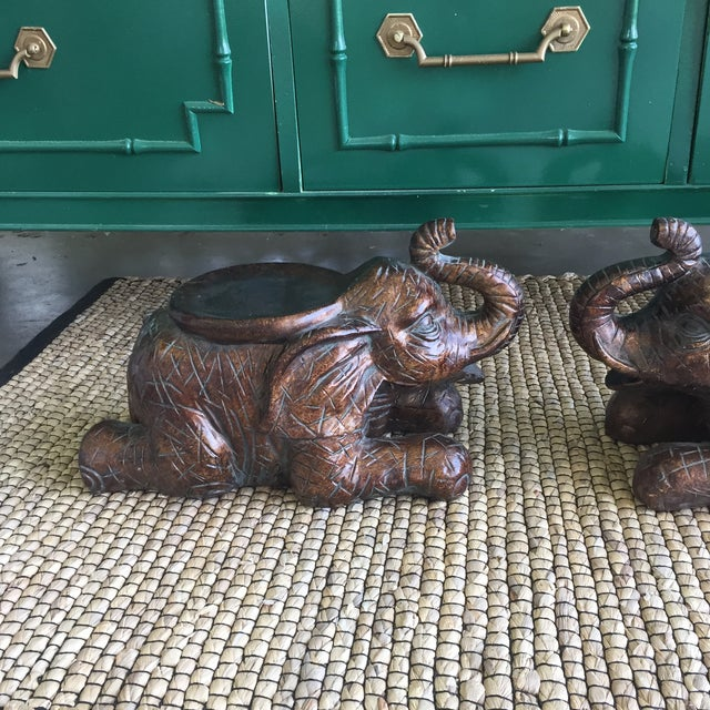Image of Large Elephant Trunks Up Pillar Candle Holders/Planter Stands - Set of 2