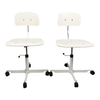 White Kevi Desk Chairs by Jorgen Rasmussen for Engelbrechts - A Pair