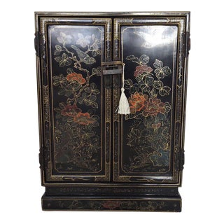 Black Oriental Lacquered Cabinet & Lock