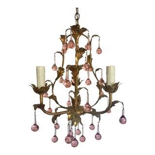 Italian Pink Murano Drop Chandelier