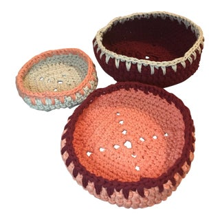 Hand Knitted Nesting Bowls - Set of 3