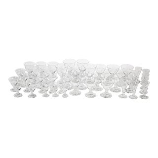 Orrefors Crystal Stems in the Seaford Pattern, 45 Pieces