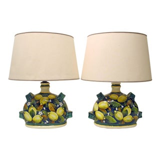 Italian Faience Pottery Lemon Lamps - A Pair