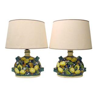 Italian Faience Pottery Lemon Lamps - A Pair