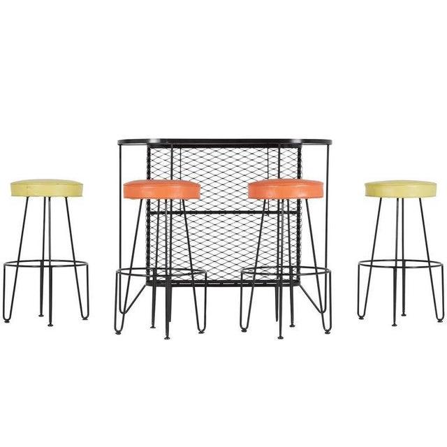 Image of 1950s Frederick Weinberg Wrought Iron Bar & Stools - Set of 5