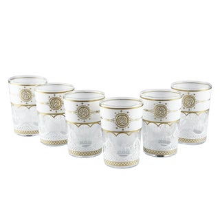 Touareg White Gold Tea Glasses - Set of 6