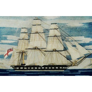 British Sailor's Woolie Woolwork of a Royal Navy Ship, circa 1865-1875