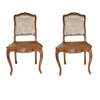 18th C. French Walnut & Caned Chairs - A Pair