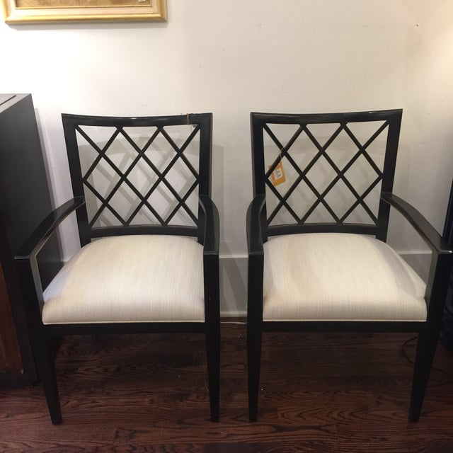 Robert Bryan Home Ebonized Arm Chairs- A Pair - Image 2 of 7