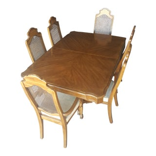 Thomasville Cane Back Pedestal Table Dining Set