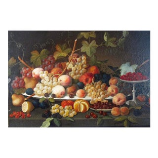 American Still Life Painting Still Life With Fruit on a Platter, Sevrin Roesen