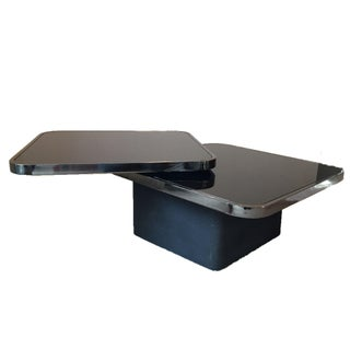 Design Institute America Rotating Table in Gunmetal & Black Glass