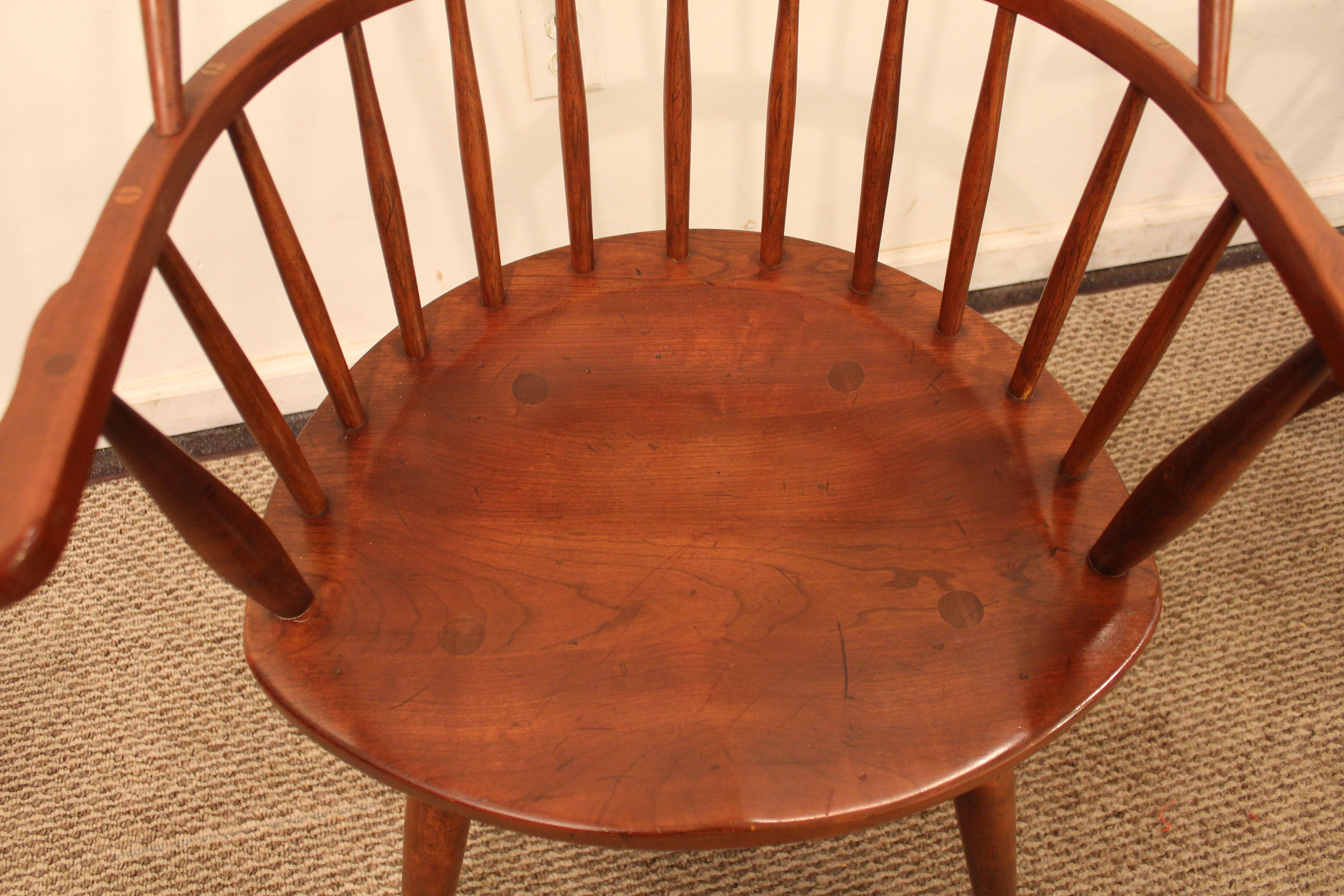 Duckloe Bros Cherry Hoop Back Windsor Arm Dining Chairs   A Pair   Image 5