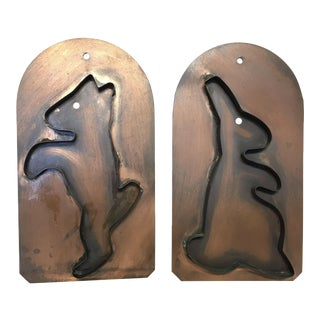 Hand Crafted Pfaltzgraff Copper Decor/Cookie Cutters - A Pair