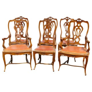 Louis XV Style Carved Dining Chairs - Set of 6