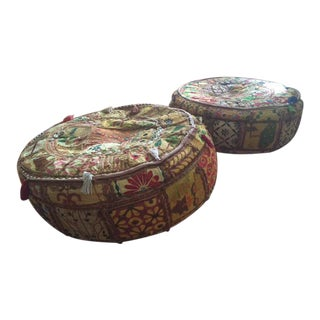 Vintage Indian Pouffs - A Pair