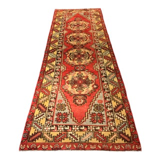 "Vintage Turkish Oushak Runner Rug - 3'2"" x 9'5"""
