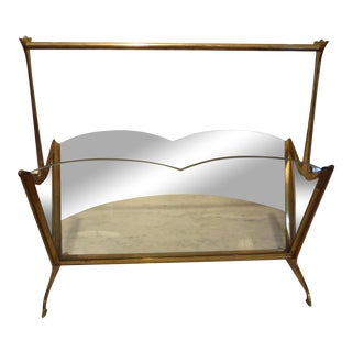 Italian Gio Ponti Style Brass & Glass Magazine Rack