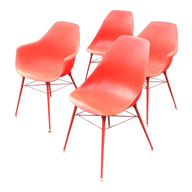 Vintage Orange Chairs - Set of 4 - Image 1 of 9