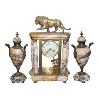 French Art Deco Marble Clock Garniture Set - S/3