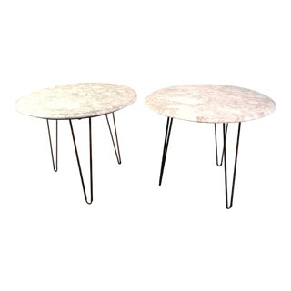 Vintage Mid-Century White Marble End Tables - Set of 2