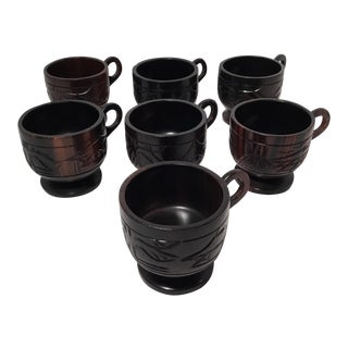 Carved Wooden Cups - Set of 7